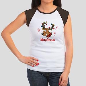Merry Christmas Reindeer Women's Cap Sleeve T-Shir