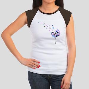 Blowing Dandelion Colorful Women's Cap Sleeve T-Sh