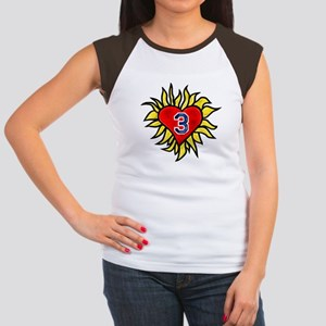 Flaming Heart 3 Women's Cap Sleeve T-Shirt