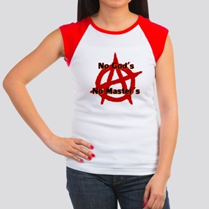 ANARCHY NO GODS NO MA Junior's Cap Sleeve T-Shirt