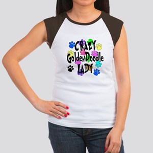 Crazy Goldenddoodle La Junior's Cap Sleeve T-Shirt