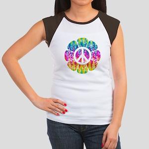 Colorful Peace Flower Junior's Cap Sleeve T-Shirt