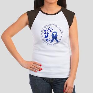 Blue Awareness Ribbon Junior's Cap Sleeve T-Shirt