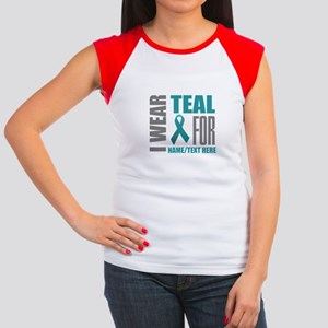 Teal Awareness Ribbon Junior's Cap Sleeve T-Shirt