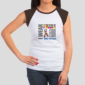 Autism Awareness Ribbo Junior's Cap Sleeve T-Shirt