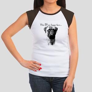 Bullmastiff Happy Face Women's Cap Sleeve T-Shirt