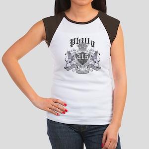 """""""PHILLY 215 LION CREST"""" Women's Cap Sleeve T-Shirt"""