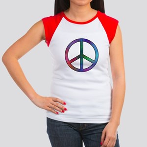 Multicolor Peace Sign Women's Cap Sleeve T-Shirt