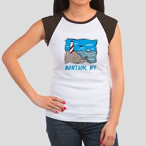 Montauk, NY Junior's Cap Sleeve T-Shirt