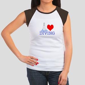Love (heart) Diving Women's Cap Sleeve T-Shirt