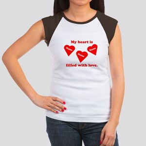 Personalized My Heart Filled Women's Cap Sleeve T-