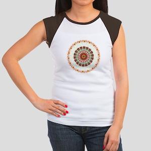 Detailed Orange Earth Mandala Women's Cap Sleeve T