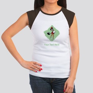 Golf Lady with Custom Text. Women's Cap Sleeve T-S
