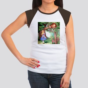 Alice and the Cheshire Cat Women's Cap Sleeve T-Sh