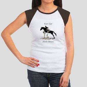 Eyes Up! Heels Down! Horse Women's Cap Sleeve T-Sh