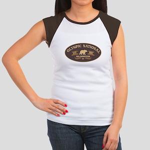 Olympic Belt Buckle Badge Women's Cap Sleeve T-Shi