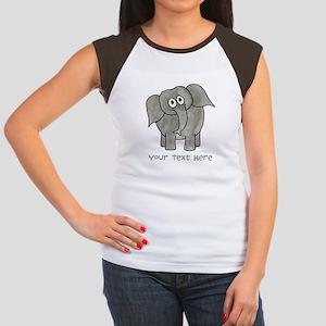 Elephant. Custom Text. Women's Cap Sleeve T-Shirt