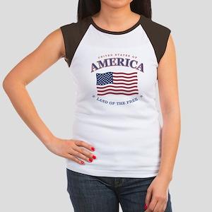 4th of July American Flag Cap Sleeve T-Shirt