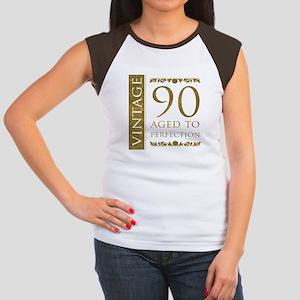 Fancy Vintage 90th Birthday Women's Cap Sleeve T-S