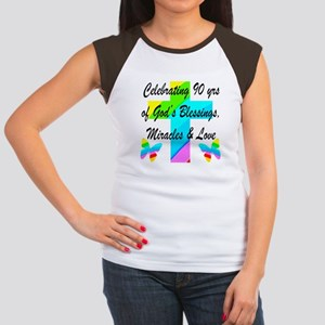 90 YR OLD BLESSING Junior's Cap Sleeve T-Shirt