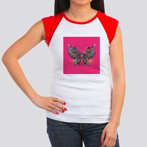 Colorful Butterfly Junior's Cap Sleeve T-Shirt