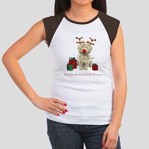 Merry Doodle Christmas Women's Cap Sleeve T-Shirt