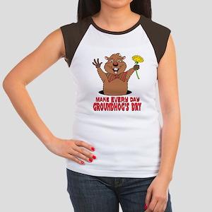 Cartoon Groundhog Women's Cap Sleeve T-Shirt