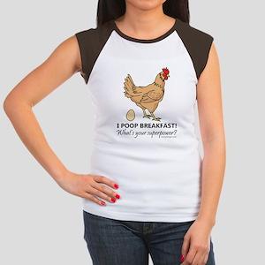 Chicken Poops Breakfas Junior's Cap Sleeve T-Shirt