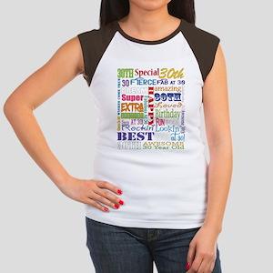 30th Birthday Typograp Junior's Cap Sleeve T-Shirt