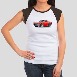 1969 Super Bee Red-Black Car Women's Cap Sleeve T-