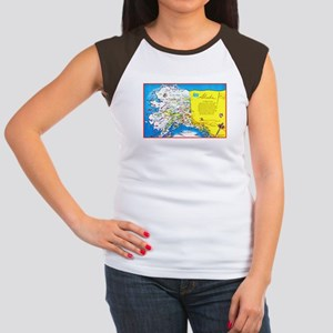 Alaska Map Greetings Women's Cap Sleeve T-Shirt
