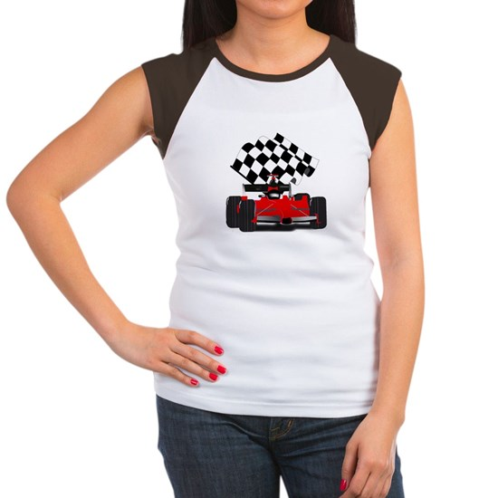 Red Race Car with Checkered Flag