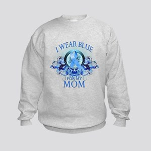 I Wear Blue for my Mom (floral) Kids Sweatshirt