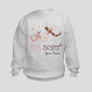 Big Sister Dragonfly Personalized Kids Sweatshirt