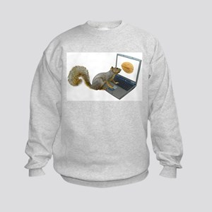 Squirrel at Computer Kids Sweatshirt