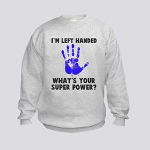 Left Handed Super Power Kids Sweatshirt