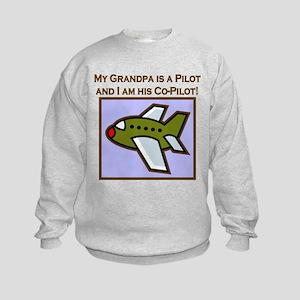 Grandpa's Co-Pilot Airplane Kids Sweatshirt