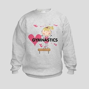 Blond Girl Gymnast Kids Sweatshirt