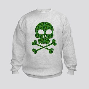 Skull Made of Shamrocks Kids Sweatshirt