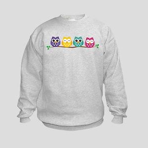 4 Colorful Owls Sweatshirt