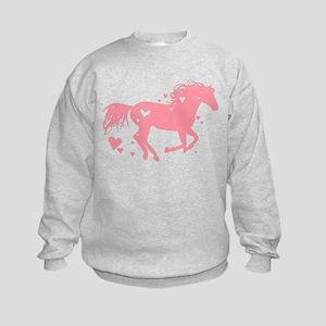 Pink Galloping Heart Horse Sweatshirt