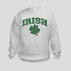 Worn Irish Shamrock Kids Sweatshirt