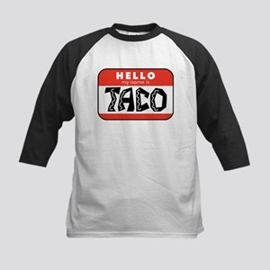 Hello My Name is Taco Kids Baseball Tee