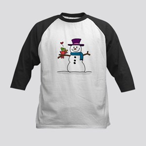 Snowman bird love christmas Baseball Jersey