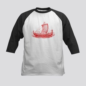 Cool Vintage Viking Ship Design Kids Baseball Jers
