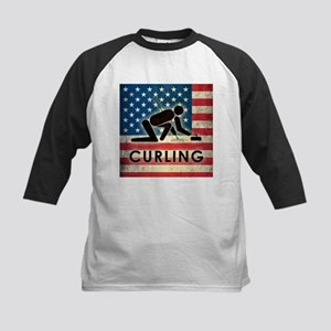 Grunge USA Curling Kids Baseball Jersey