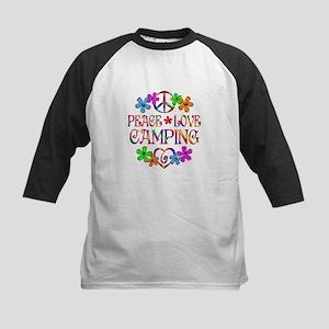 Peace Love Camping Kids Baseball Jersey