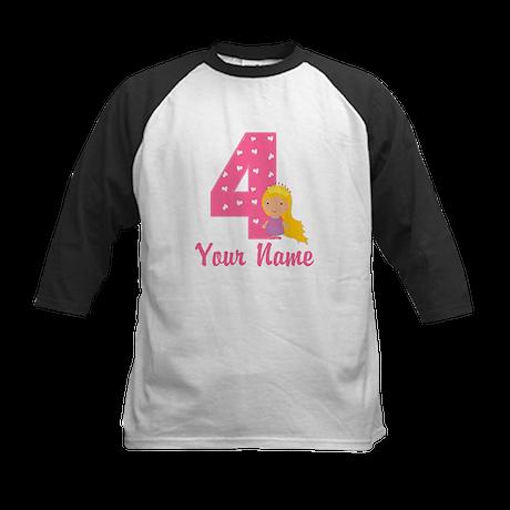 4th Birthday Princess Kids Baseball Jersey