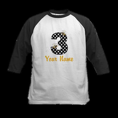 3rd Birthday Bumble Bee Kids Baseball Jersey