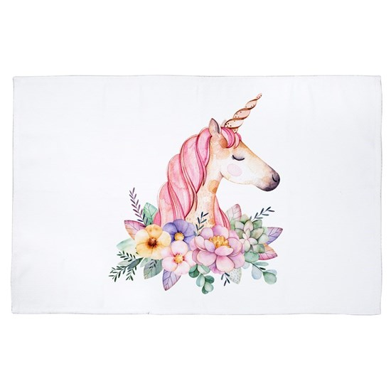 Pink Unicorn with Colorful Flower Collar